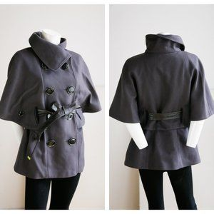 Soia & Kyo Dark Brown Wool Blend Classic Chic Cape Jacket with Chunky Buttons